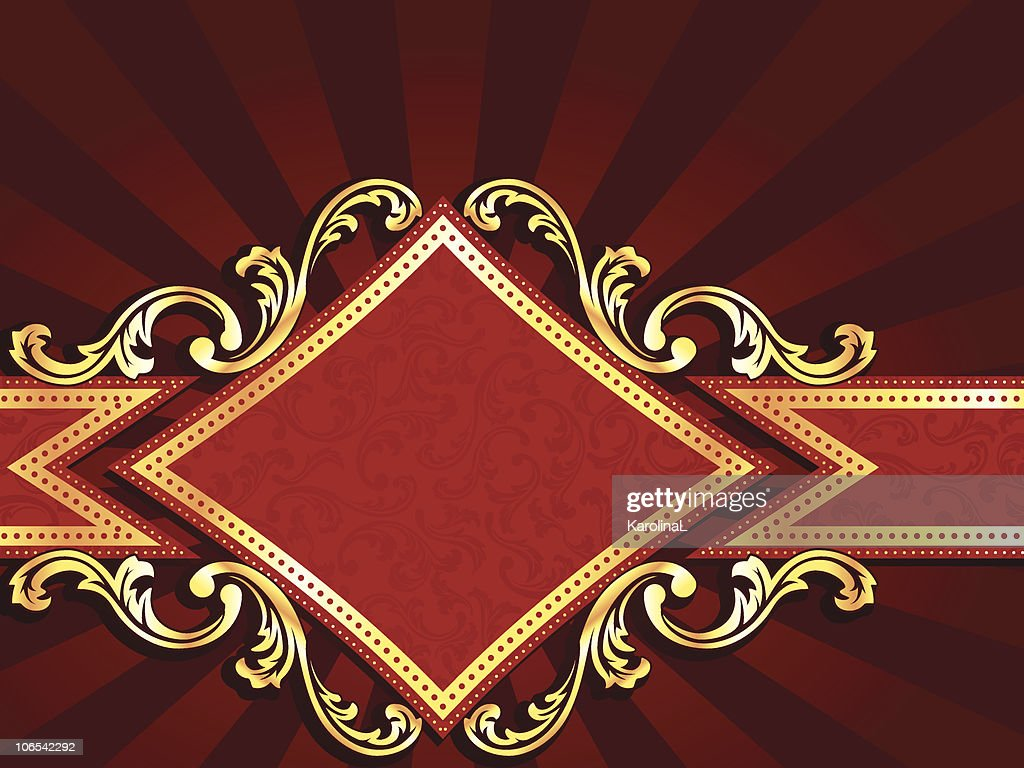 Horizontal diamond shaped red banner with gold filigree