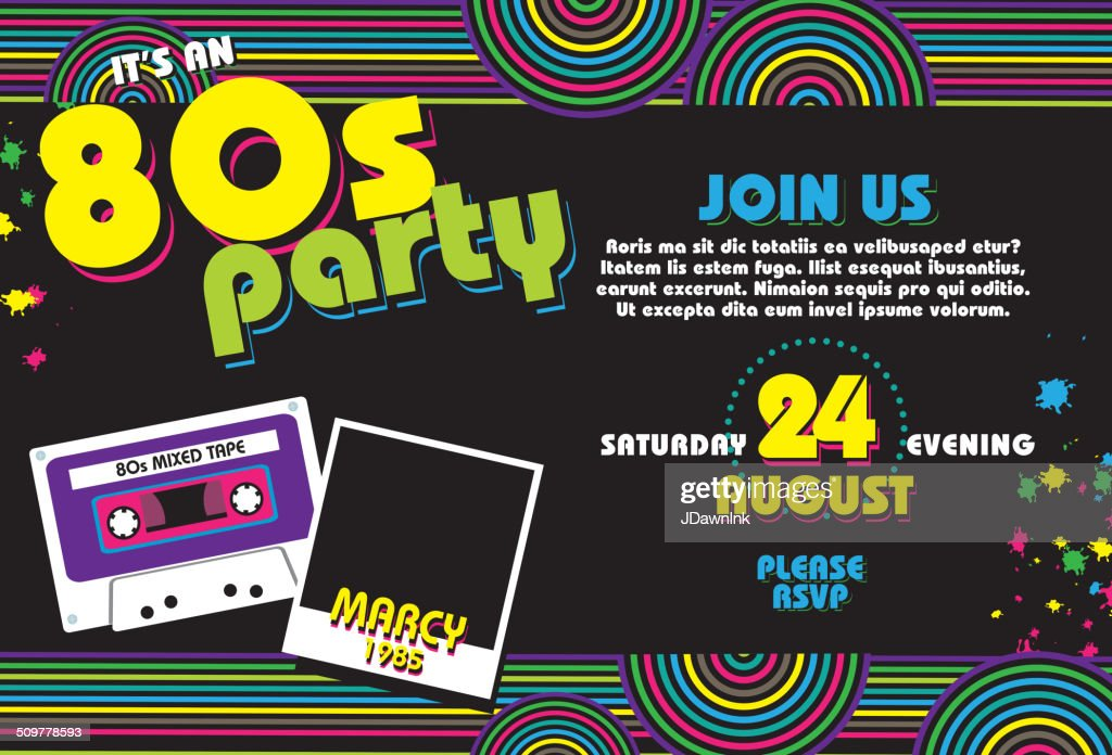 Horizontal Eighties party themed invitation design template : stock vector