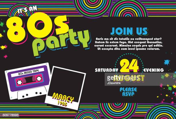 Horizontal Eighties party themed invitation design template