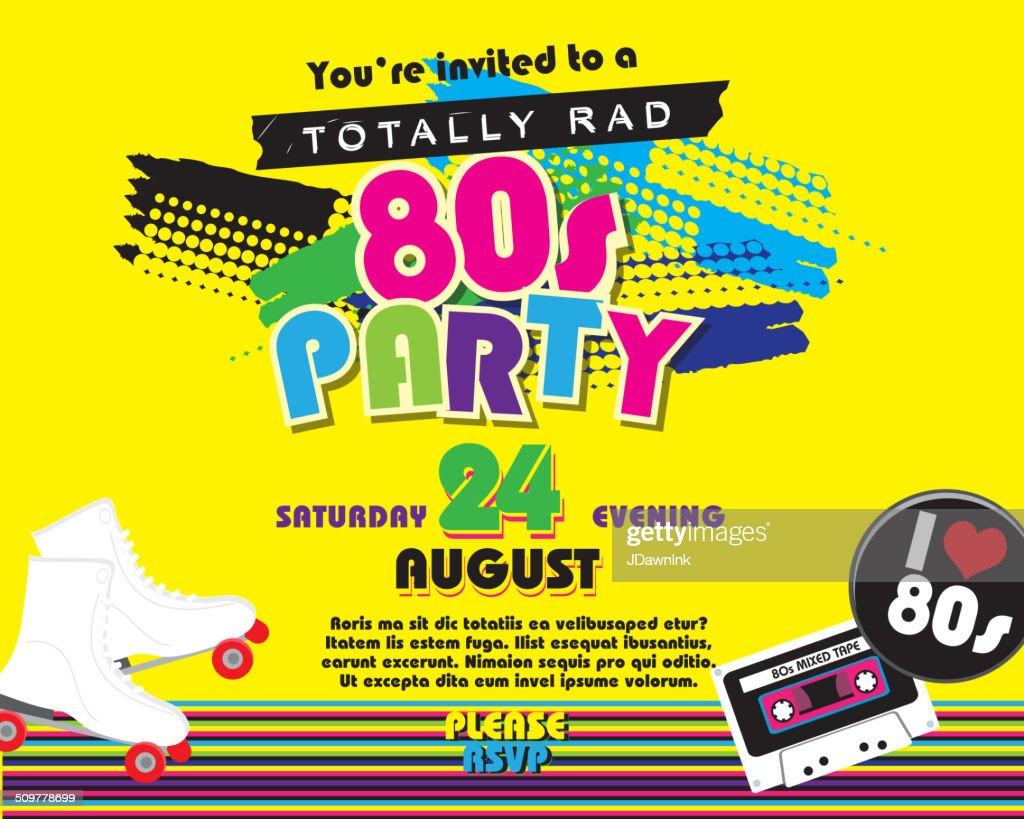 Horizontale Der 80er Jahre Party Motto Einladung Design Vorlage