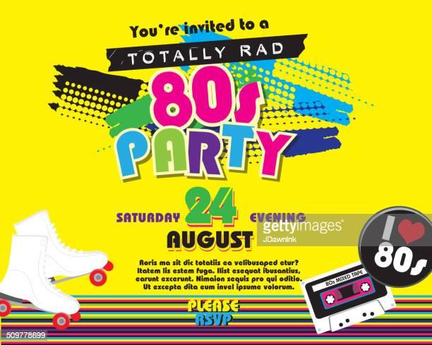 Festa a tema orizzontale anni'80 invito modello di progettazione