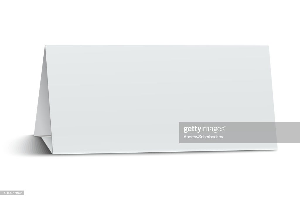Horizontal elongate, oblong blank paper table card isolated on white background