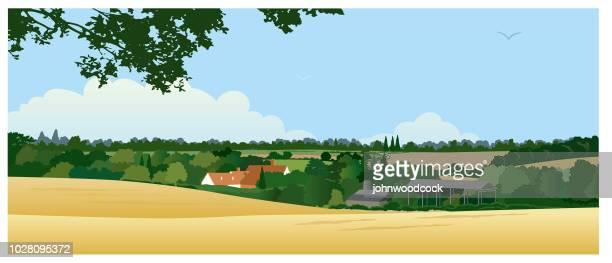 horizontal english landscape illustration - rolling landscape stock illustrations