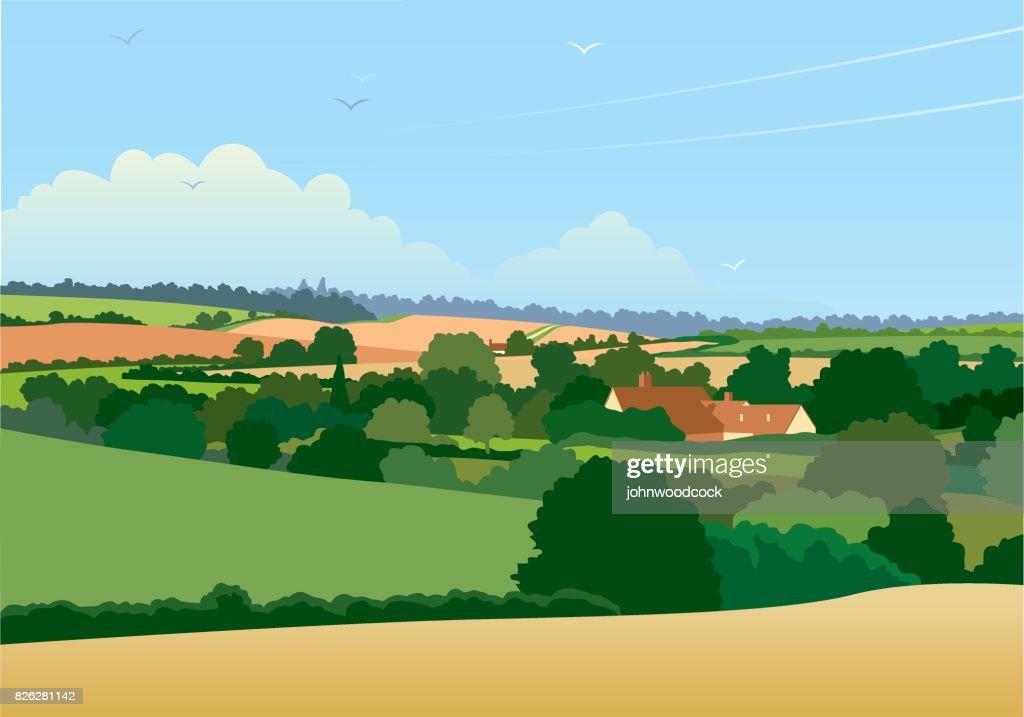 Horizontal English landscape illustration : stock illustration