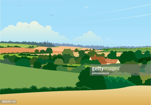horizontal english landscape illustration - essex england stock illustrations