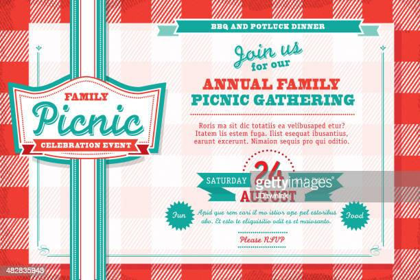 horizontal family picnic celebration invitation design template with tablecloth - picnic stock illustrations