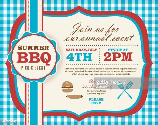 水平 7 月 4 日のピクニック招待状のデザインテンプレート - ポットラック点のイラスト素材/クリップアート素材/マンガ素材/アイコン素材