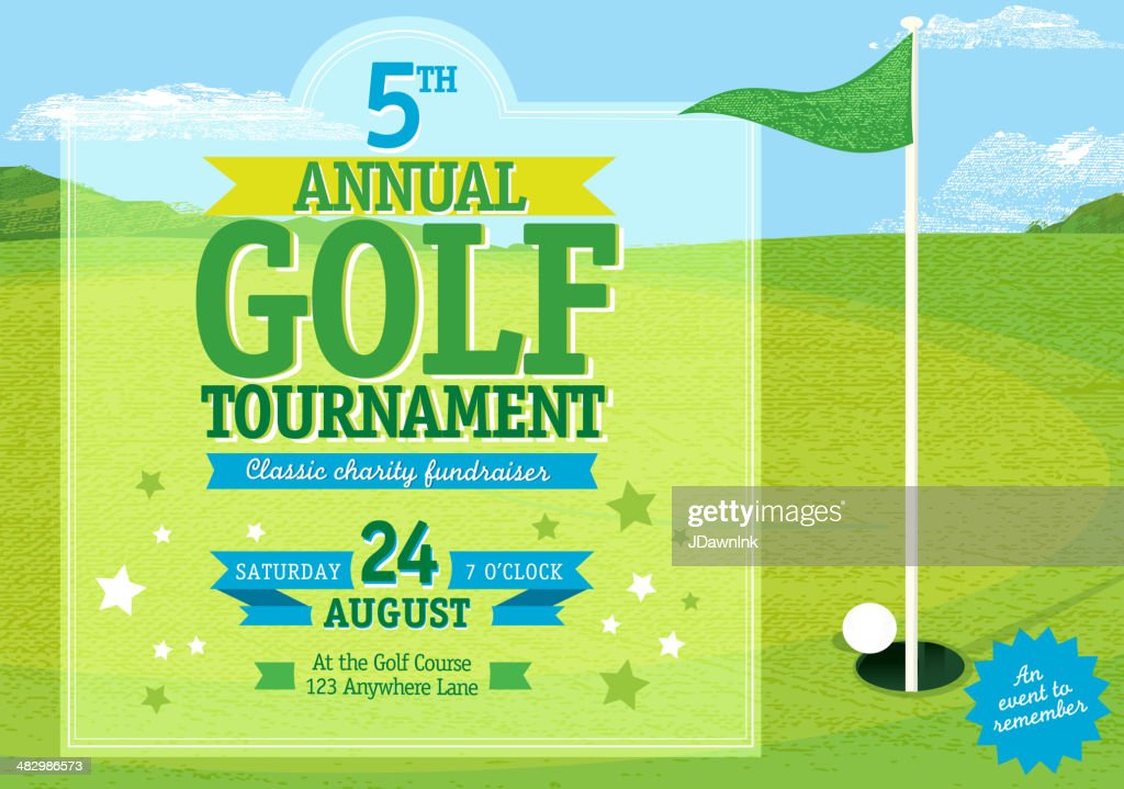 Horizontal Golf tournament invitation design template