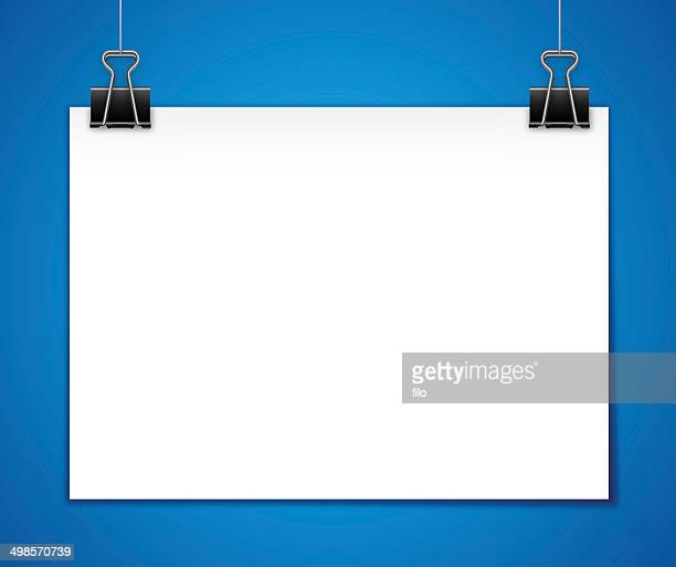 horizontal hanging paper template - paper clip stock illustrations, clip art, cartoons, & icons