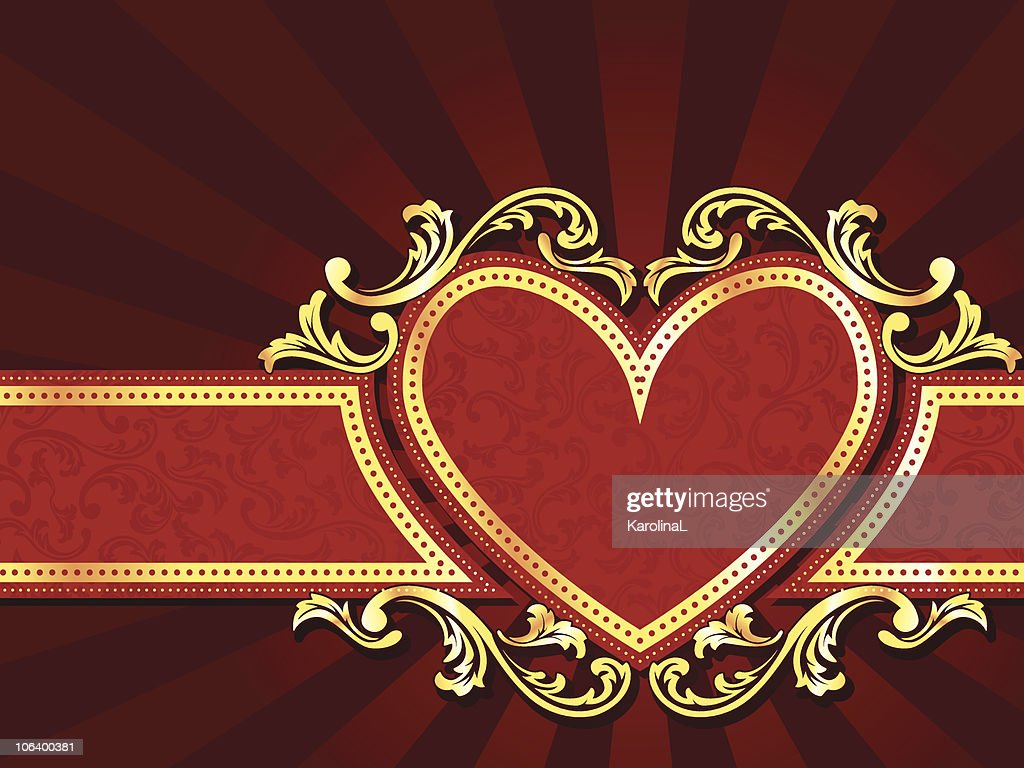 Horizontal heart-shaped red banner with gold filigree