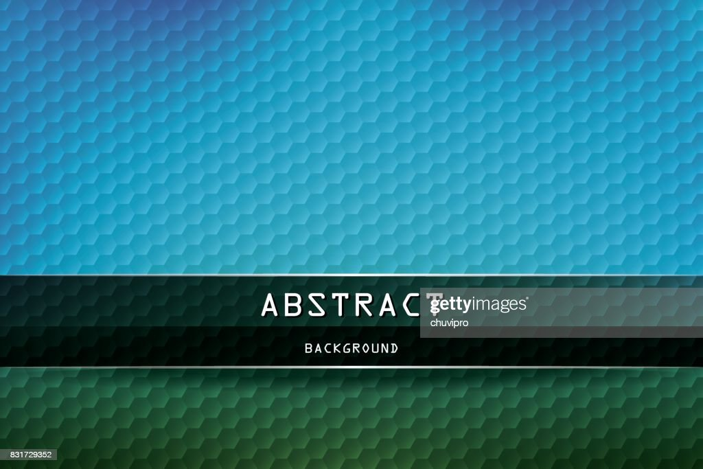 Horizontal Hexagon geometric background - Blue, Green, Black