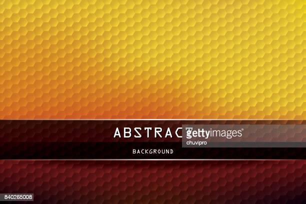 Horizontal Hexagon geometric background - Yellow, Orange, Brown, Black