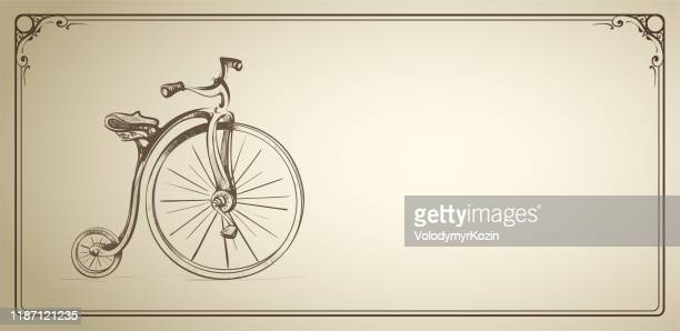 horizontal illustration of a retro bicycle in a frame - sepia stock illustrations