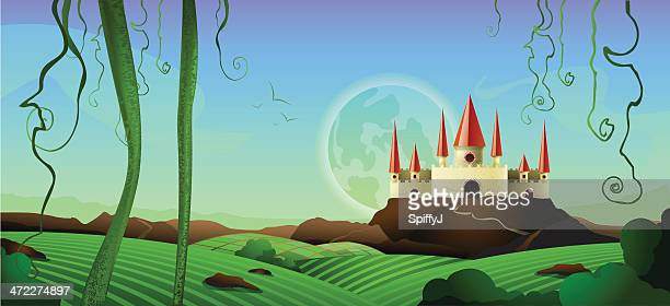 horizontal landscape castle background - ethereal stock illustrations, clip art, cartoons, & icons