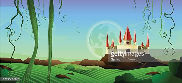 horizontal landscape castle background - castle stock illustrations, clip art, cartoons, & icons