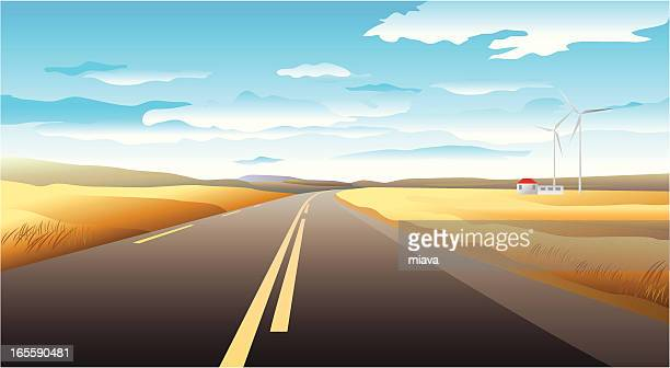 horizontal landscape with a highway - dividing line road marking stock illustrations, clip art, cartoons, & icons