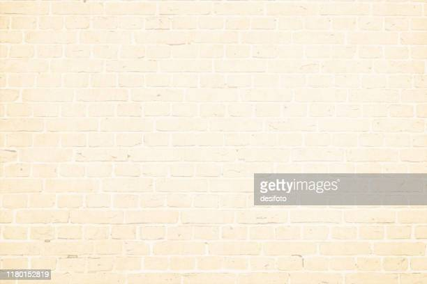 horizontal modern off white, beige color brick pattern wall textured grunge background vector illustration - cream colored stock illustrations
