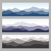 Horizontal mountain ridges. Set of nature backgrounds in different colors.