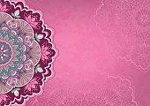 Horizontal pink background with colored mandala