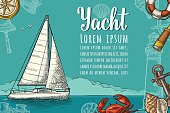 Horizontal poster for yacht club with text template. Vector engraving