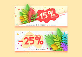 Horizontal sale banner border. Discount coupon cards, headers website.
