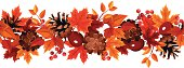 Horizontal seamless background with autumn leaves. Vector illustration.