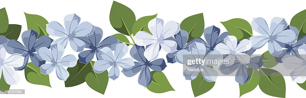 Horizontal seamless background with blue flowers. Vector illustration.