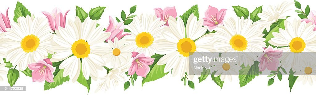 Horizontal seamless background with daisies and harebell flowers. Vector illustration.