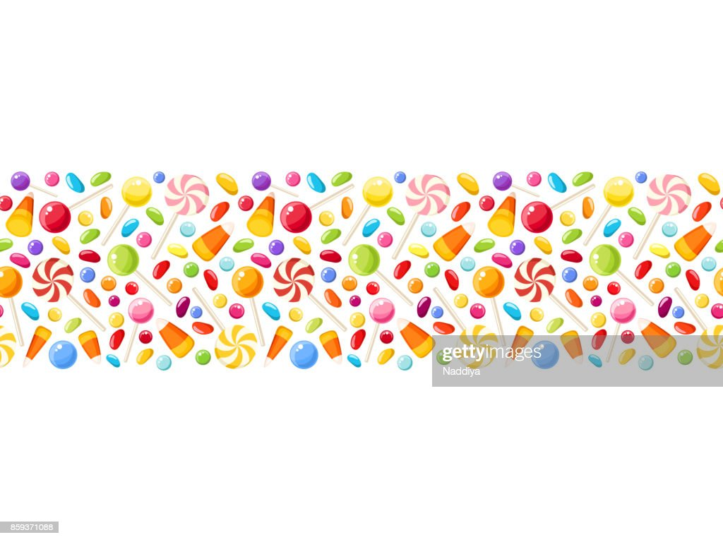 Horizontal seamless background with Halloween candies. Vector illustration.