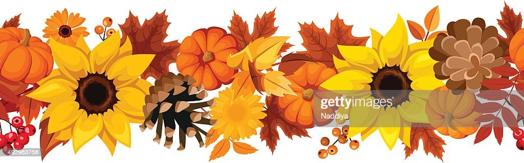 Horizontal seamless background with pumpkins, sunflowers and autumn leaves. Vector.