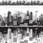 Horizontal seamless cityscape with airplanes, abstract vector illustration.
