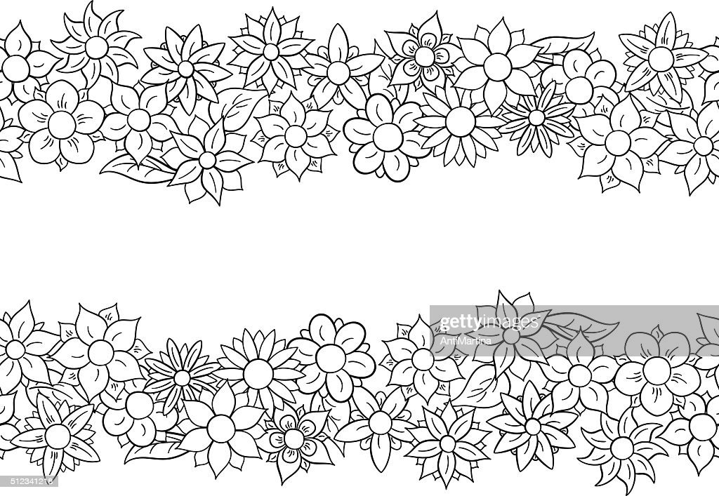 horizontal seamless flower border