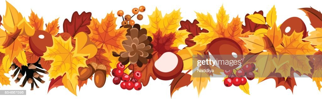 Horizontal seamless garland with colorful autumn leaves. Vector illustration.