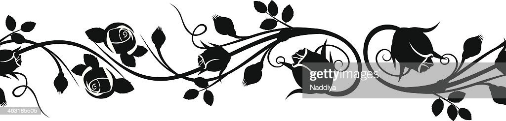 Horizontal seamless vignette with rose buds. Vector illustration.
