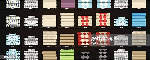 horizontal store shelves with clothes - folded stock illustrations