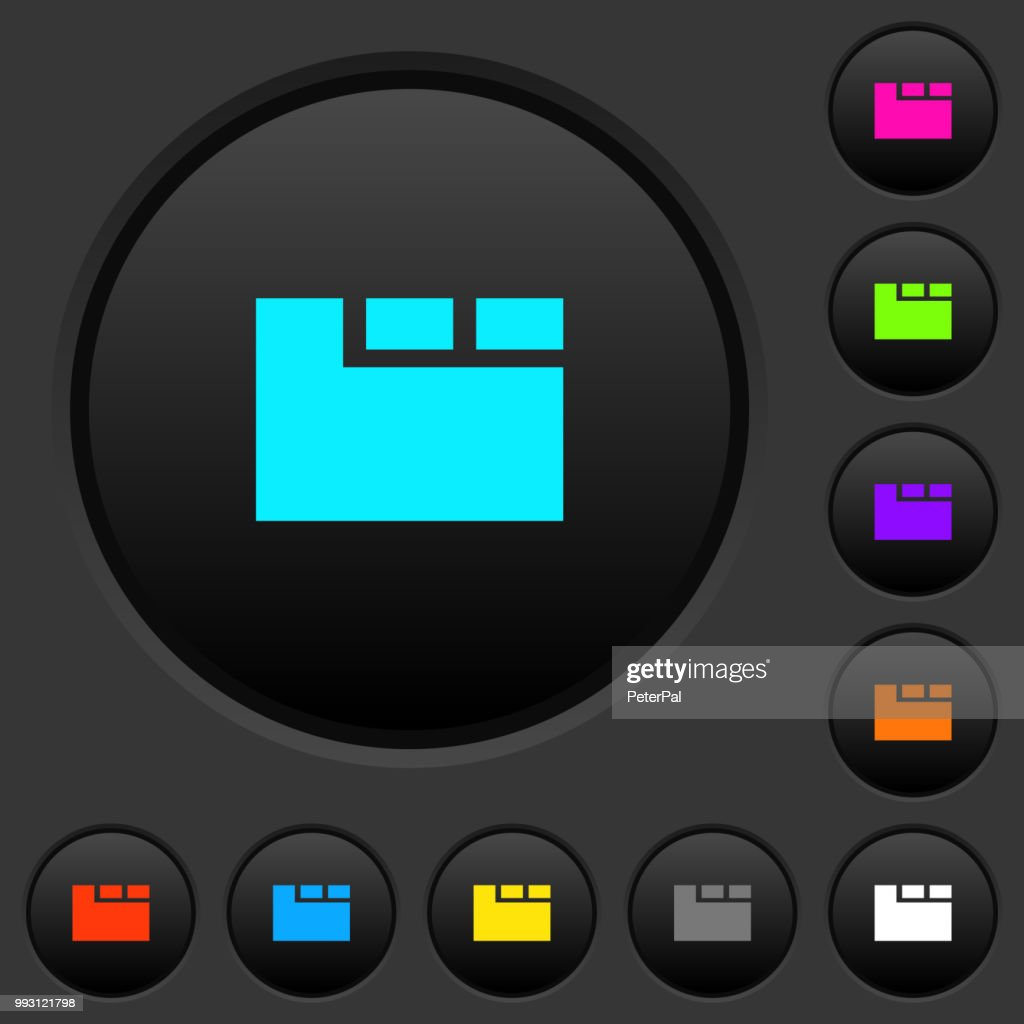 Horizontal tabbed layout active dark push buttons with color icons