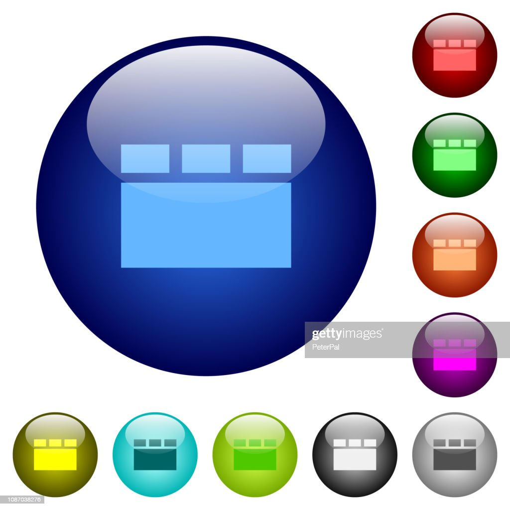 Horizontal tabbed layout color glass buttons