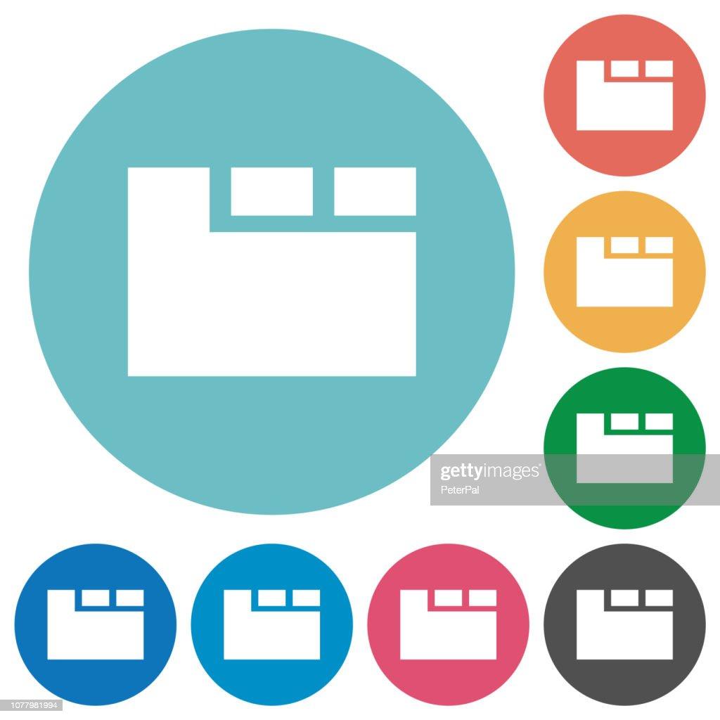 Horizontal tabbed layout flat round icons