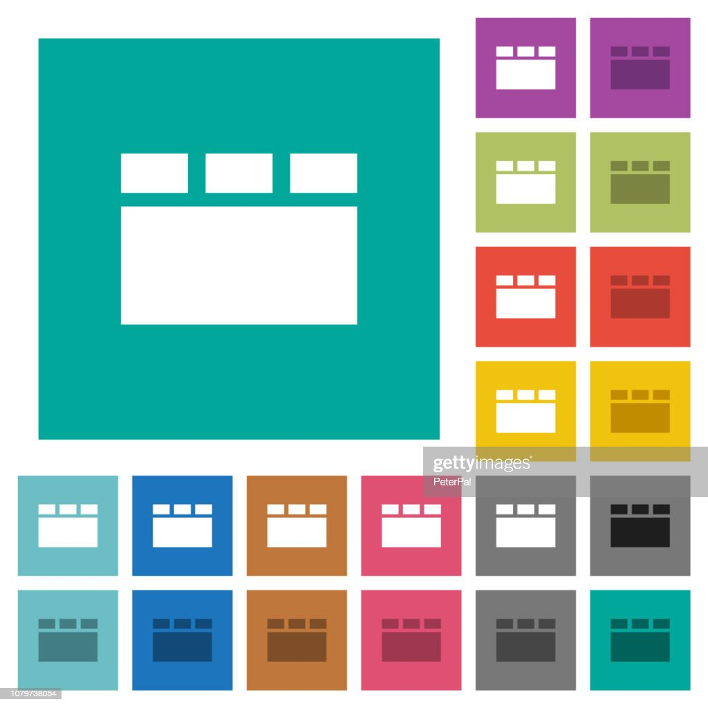 Horizontal tabbed layout square flat multi colored icons