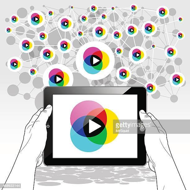 horizontal tablet pc streaming media player - video still stock illustrations, clip art, cartoons, & icons