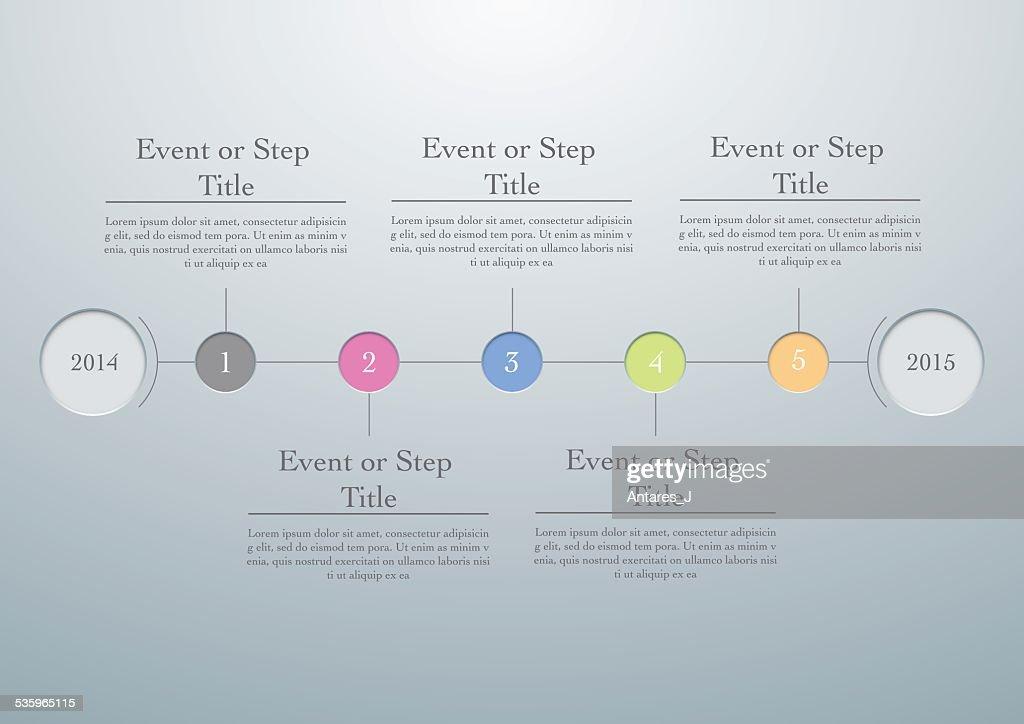 Horizontal timeline easy editable template, vector illustration : Vector Art