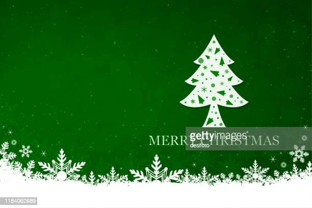 horizontal vector illustration of a creative bright green color xmas background with one creative decorated royal tree - emerald green stock illustrations