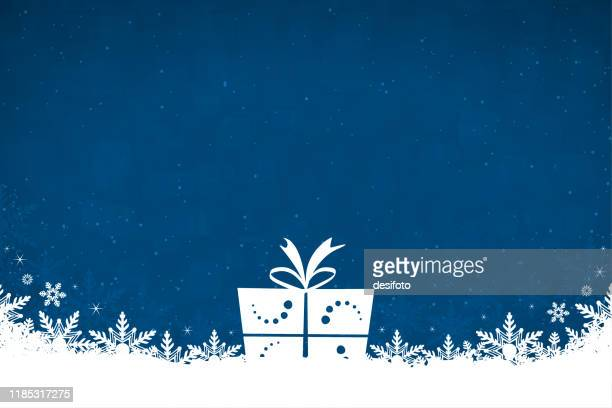 horizontal vector illustration of a creative dark blue green color christmas background with snowflakes at the bottom and one white white color gift box with a tied bow in the centre - christmas present stock illustrations