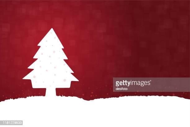 illustrazioni stock, clip art, cartoni animati e icone di tendenza di illustrazione vettoriale orizzontale di uno sfondo creativo di colore marrone rosso scuro con un albero di natale bianco, neve su tutto il terreno e sull'albero - bordeaux rosso