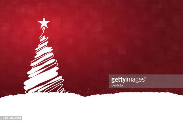 horizontal vector illustration of a creative dark red maroon wine color background with one creative white christmas tree with a bright shining star at top, snow all over the ground and on tree - christmas trees stock illustrations