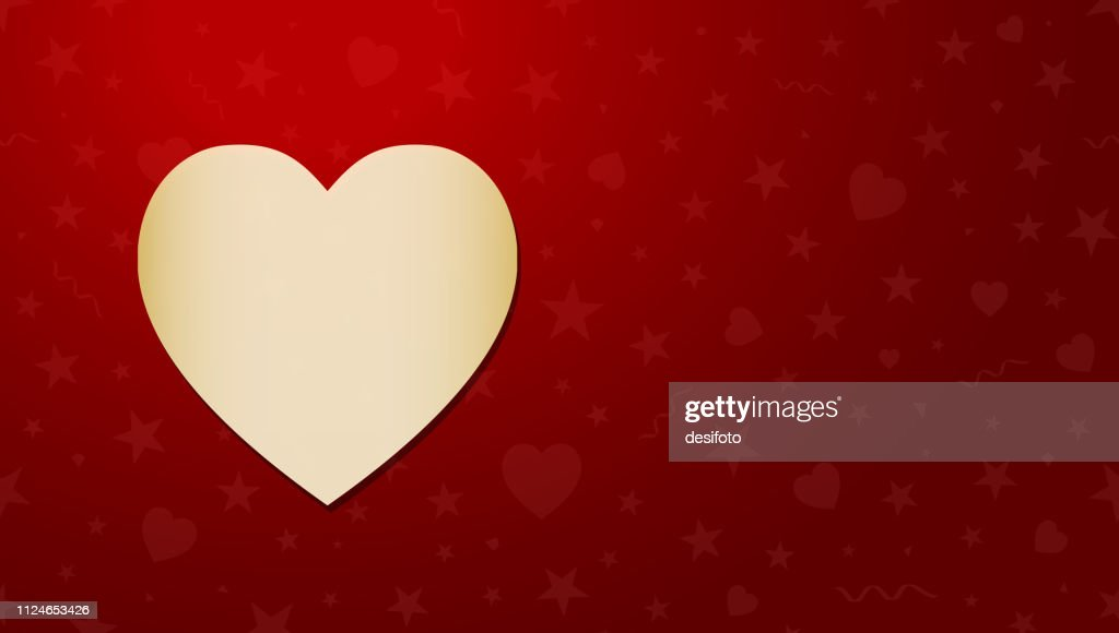 Horizontal vector illustration of a dark colored red grunge old starry Background with one big golden heart at the left and very light small stars, hearts and swirls all around as watermark.
