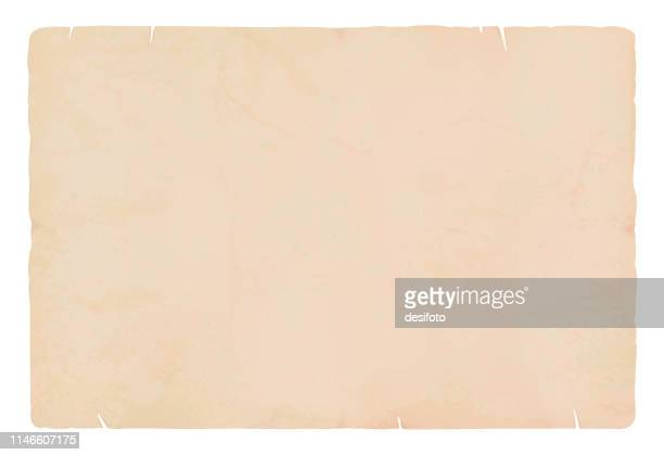 a horizontal vector illustration of a plain blank beige colored blotched old paper - at the edge of stock illustrations