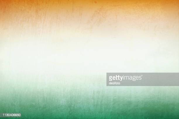 a horizontal vector illustration of horizontal tri color merging bands, saffron, white and green - indian flag stock illustrations