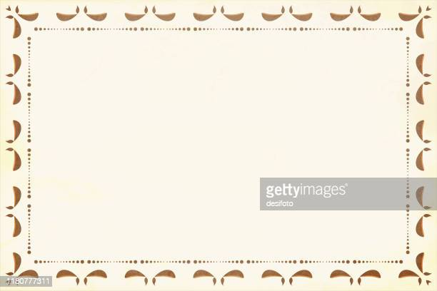 horizontal vector illustration - off white, pale colored grunge background diwali greeting with a border of dots and lit diyas on all four sides - diwali stock illustrations