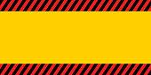 horizontal warning banner frame, red yellow black, diagonal stripes, hazard backdrop wallpaper danger vector